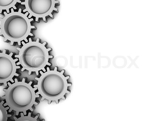 abstract 3d illustration of background with steel gear wheels at left side