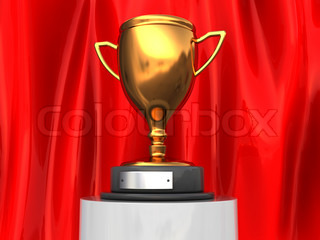 3d illustration of trophy cup over red curtain background