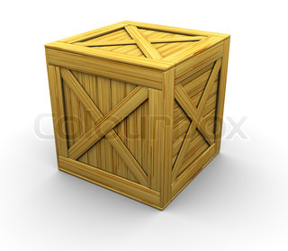 3d illustration of wooden crate over white background