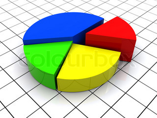3d illustration of 3d pie chart over grid background