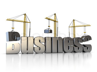 abstract 3d illustration of three cranes building business sign, over white background