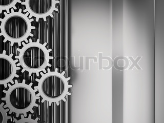 abstract 3d illustration of metal background with gear wheels system