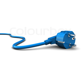 3d illustration of power cord over white background