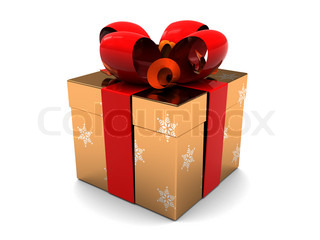 3d illustration of golden present box over white background