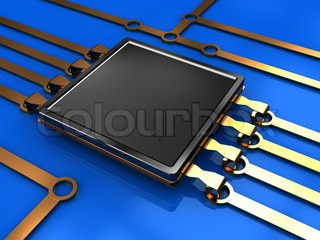3d illustration of electronic circuit and chip, over blue background