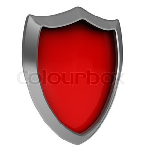 abstract 3d illustration of red shield icon isolated over white background