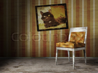 3d illustration of old abandoned room with chear and picture