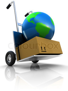 abstract 3d illustration of earth delivery on cart