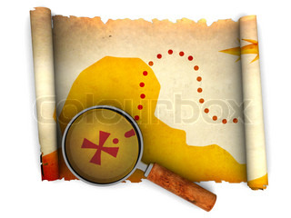 3d illustration of an ancient treasure map and magnify glass