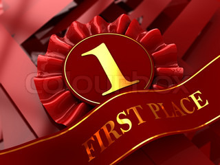 abstract 3d illustration of red first place award background