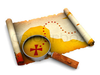 3d illustration of treasure map and magnify glass