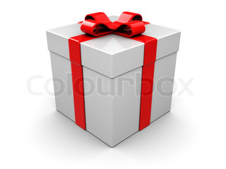 3d illustration of generic present box, over white background