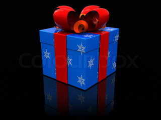 3d illustration of christmas present box over black background