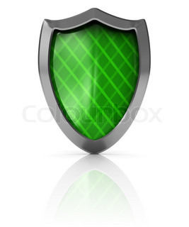 3d illustration of green shield over white background
