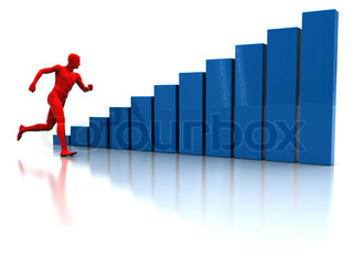 abstract 3d illustration of running man and raising charts