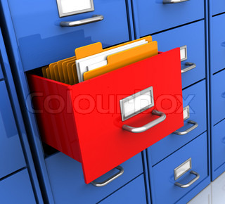 3d illustration of office shelf with document folders inside