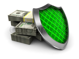 abstract 3d illustration of money stack and shield