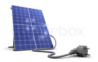3d illustrationof solar panel with power cord, over white background