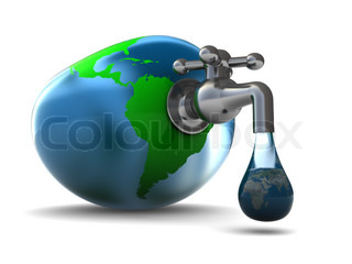 3d illustration of earth globe with water faucet