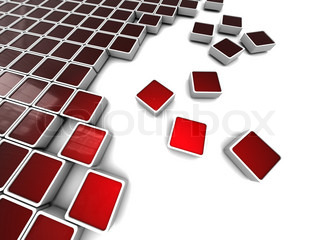 abstract 3d illustration of background with red blocks structure at left side