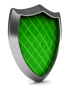abstract 3d illustration of green shield over white background
