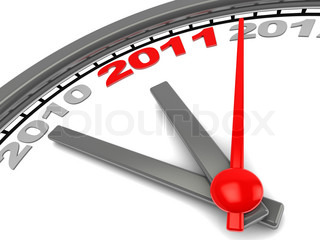 3d illustration of wall clock with years on dial, new year countdown concept