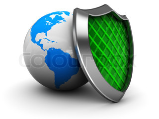 abstract 3d illustration of earth globe with green shield
