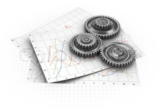 abstract 3d illustration of diagram paper sheets with gear wheels