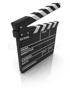 3d illustration of cinema clapboard over white background