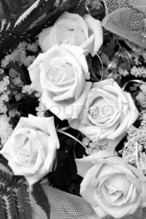 bouquet of roses. black and white photo