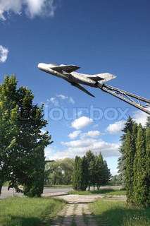 monument. Airplane. Ukraine. Dubno. Place the first battering ram during the Second World War