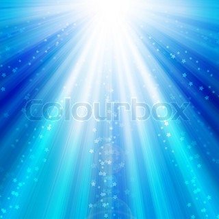 blue sky with rays of light and stars