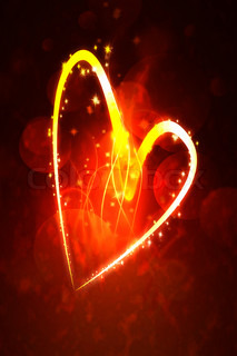 hot heart valentine abstract glowing stripes on a dark background