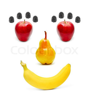 Smiling fruits isolated on a white background