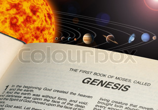 An illustration of our solar system. and Bible book Genesis
