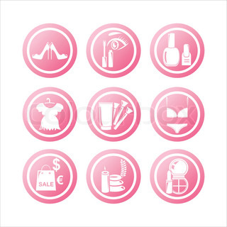 set of 9 pink beauty and fashion signs