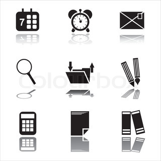 set of 9 black office tools icons