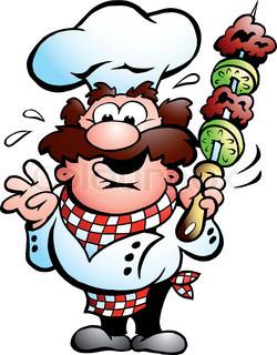 handgezeichnete Vektor-Illustration ein Chefkoch mit einem Kebab-Spieß
