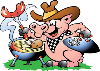 Hand-drawn Vector illustration of an Pig sitting and making BBQ