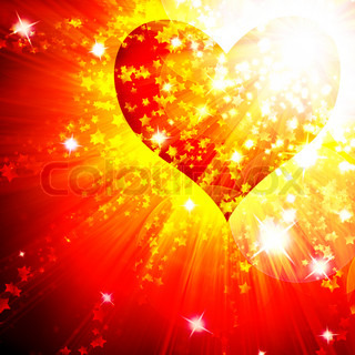 red heart with rays  background, abstract