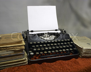 old books and old typewriter