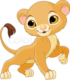 Brave cute Lion Cub of a white background