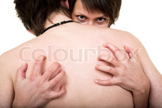 Woman scratching man's back isolated on white