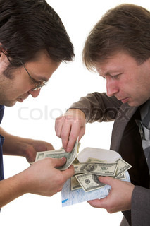 two men divided money isolated on white background
