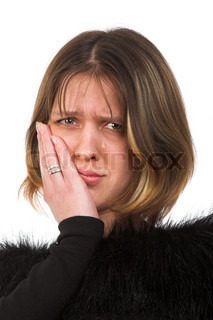 woman with hand near the face and one tear-drop