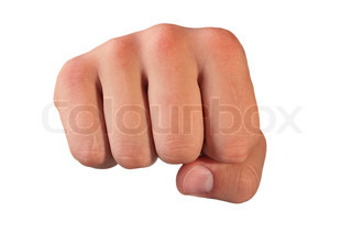 The man's hand is clenched in a fist on a white background.
