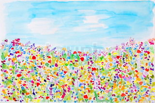 Wild summer flowers watercolor hand-painted