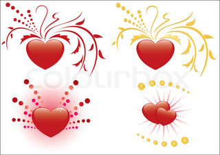 set of 4 illustrations of red hearts