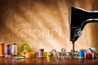 copy space image of sewing tools