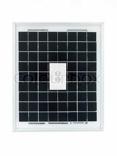A solar panel with power on symbol isolated against a white background